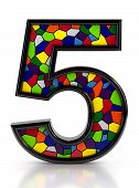 Number 5 symbol with multicolored mosaic tiles, isolated on white background.