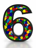 Number 6 symbol with multicolored mosaic tiles, isolated on white background.