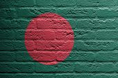 Brick Wall With A Painting Of A Flag, Bangladesh