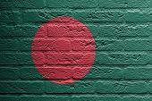 Brick Wall With A Painting Of A Flag, Bangladesh