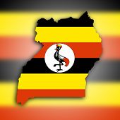 Uganda Map With The Flag Inside