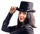 Young Beautiful Woman In Black Tophat