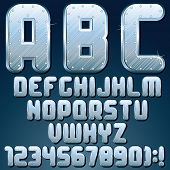 Silver or Steel Metallic Font. Vector Set of Metal Letters and Numbers with Rivets.