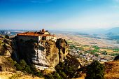 Meteora Monasteries, Greece, Horizontal Shot With Blue Sky And View Of The Valley