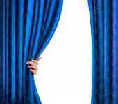 Fondo con cortina de terciopelo azul y mano. Fondo con cortina de terciopelo azul y mano. Vector