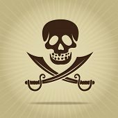 foto of crossed swords  - Vintage Skull with Crossed Swords - JPG