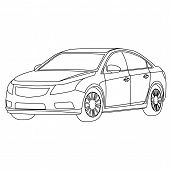 pic of french curves  - the car outline vector isolate on white - JPG