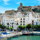 IBIZA, SPAIN - SEPTEMBER 17: Port and old town of Ibiza Town on September 17, 2012 in Ibiza, Baleari