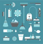 stock photo of wiper  - Vector set of stylized cleaning tools icons - JPG