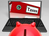 Taxes File On Laptop Shows Taxation