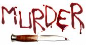 Bloody letters and sharp dagger as a symbol of murder and crime