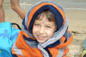 Boy Wrapped In Towel