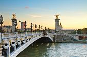 pic of cupola  - Alexandre III Bridge at sunset in  Paris - JPG