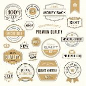 Set of golden badges and stickers for sale