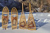vintage Bear Paw and Huron snowshoes cast shadow in snow, Poudre River Canyon near Fort Collins, Col