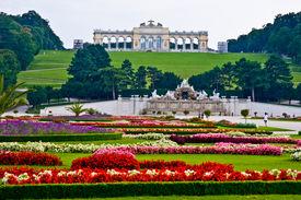 image of schoenbrunn  - view of the Gloriette of the park Schoenbrunn in Vienna - JPG