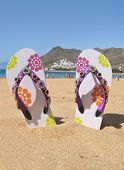Flip-flops on the Teresitas beach. Tenerife island, Canaries