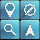 Flat icon set map marker for Web and Application.