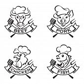 foto of sea cow  - collection of grill labels - JPG