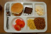image of school lunch  - Lunch tray filled with delicious institutional Food - JPG