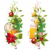 2 bright vertical Christmas borders