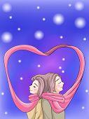 Cute Couple Bonding In Winter Scene