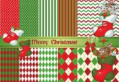 stock photo of rabbit year  - Big set of vector Christmas backgrounds and animals and Christmas boot - JPG