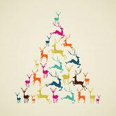 Merry Christmas Reindeer Pine Tree Shape Vector.