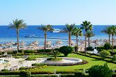 Motor Yacht And Beach At The Luxury Hotel, Sharm El Sheikh, Egypt
