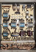 stock photo of contactor  - Electric service panel with many 3 phase contactor and fuses - JPG