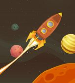 stock photo of spaceships  - Illustration of a cartoon retro red spaceship blasting off and exploring space and planets - JPG