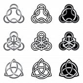 picture of triquetra  - Collection of decorative Celtic patterns isolated on white background - JPG