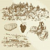 vineyard, rural landscape - hand drawn illustration