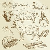 stock photo of meat icon  - pork and beef cuts  - JPG