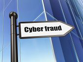 Protection concept: Cyber Fraud on Building background