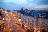 MOSCOW - APR 29: A beautiful evening cityscape street Tverskaya on April 29, 2013 in Moscow, Russia.