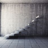 Abstract concrete staircase in interior