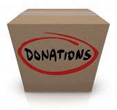 The word Donations on a cardboard box to illustrate a food or clothing drive for needy or homeless p