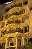 Casa Mila At Night. Vertically.