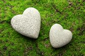 foto of pumice-stone  - Grey stones in shape of heart - JPG
