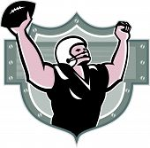 image of scat  - Illustration of an american football gridiron wide receiver running back player running with ball facing side celebrating touchdown set inside shield done in retro style set inside ball  - JPG