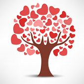Love tree on abstract grey background, Valentines Day concept.