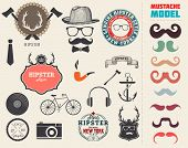 Vector Hipster style design elements and icons set. Sunglasses, mustache, bow, anchor, hat, camera,