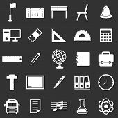 School Icons On Black Background