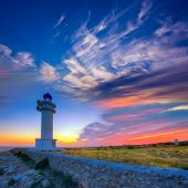 Barbaria Berberia Cape Lighthouse Formentera at sunset in Balearic Islands
