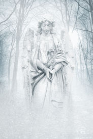pic of wraith  - Angelic female figure materialising in an atmospheric misty winter forest rendered in cool blue tones - JPG