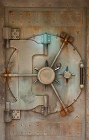 pic of door-handle  - Old safe or vault door with rust stains - JPG