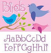 Vector card with birds and alphabet letters