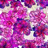 stock photo of petunia  - Seamless pattern with abstract bright flowers - JPG