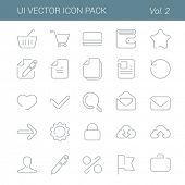 User interface vector icon line art design pack. Lineart creative icons set. Flat trendy web buttons